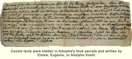 Cookie texts were hidden in Adolphe's food parcels and written by Emma, Eugenie, or Adolphe Koehl